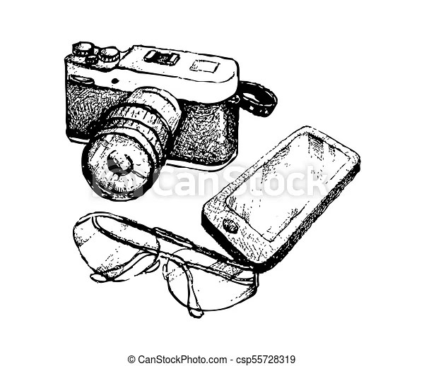 Hand drawn camera and glasses with smart phone