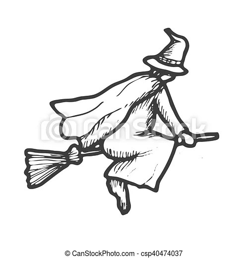 Hand drawn doodle halloween witch. black and white pen