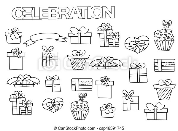 Hand drawn gift boxes set. coloring book page template