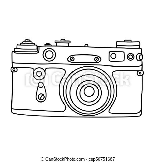 Hand drawn hipster old photo camera. vintage camera icon