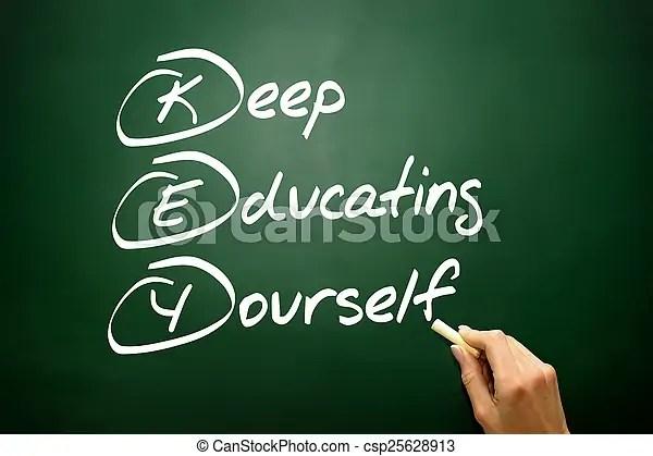 Hand drawn keep educating yourself (key), business concept on bl. Hand drawn keep educating yourself (key), business concept.