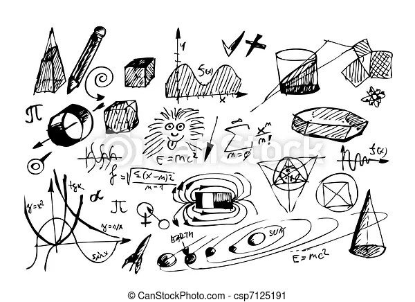 Hand drawn math and physic symbols isolated on the white