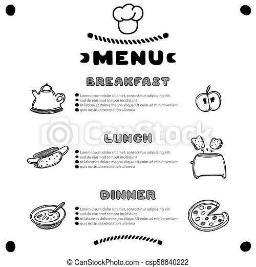 Hand drawn menu for cafe with breakfast, lunch, dinner