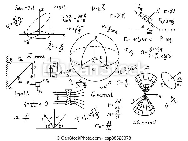 Hand drawn physics formulas science knowledge education