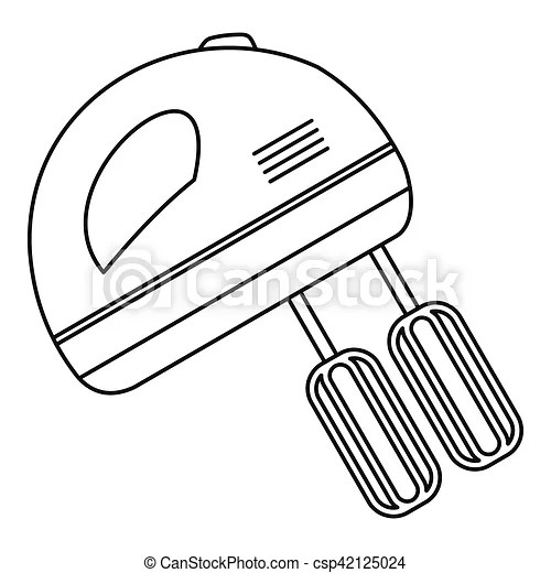 Hand mixer icon, outline style. Hand mixer icon. outline