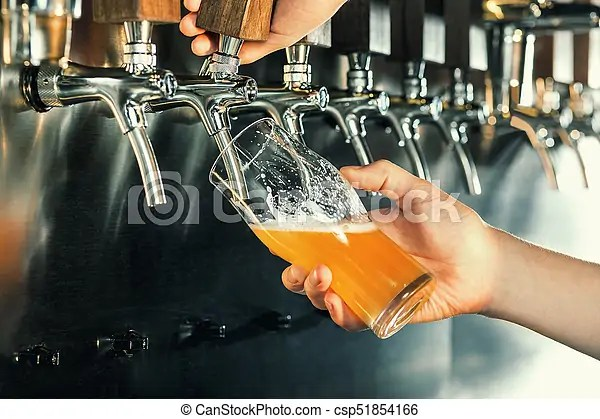 https www canstockphoto com hand of bartender pouring a large lager 51854166 html