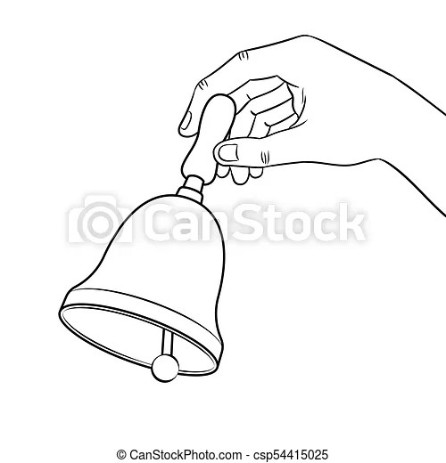 Hand ring bell coloring book vector. Hand ring bell