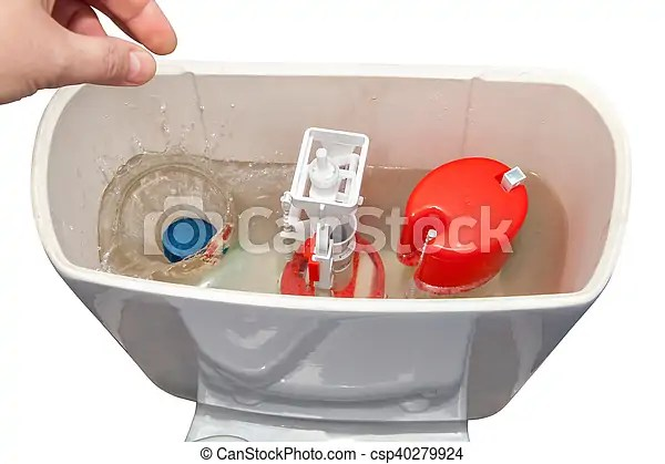 Hand throws blue cleaner tablet in flush tank toilet bowl. Hand down a cleanser in water flush tank toilet bowl.