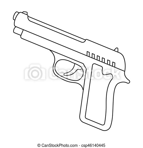 Gun No Background Coloring Coloring Pages