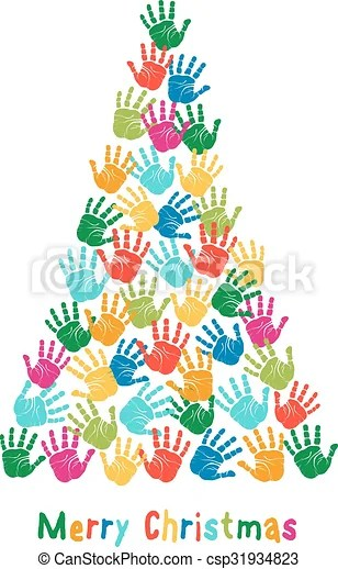Handprint Christmas Tree Vector Colorful Christmas Tree