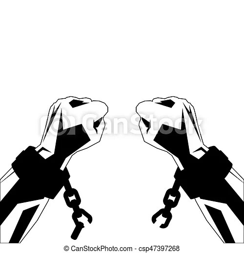 Hands and shackles. Hands in shackles tear chains. vector