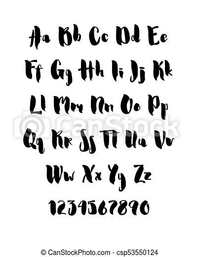 Handwritten brush style modern cursive font isolated on