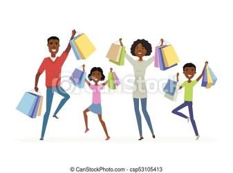 Family Shopping Cartoon