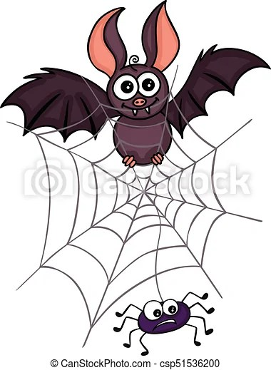 happy bat with spider