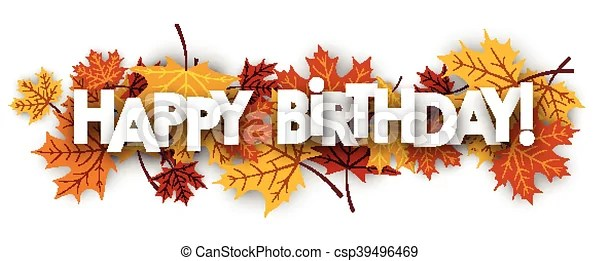 happy birthday banner with leaves