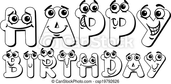 Happy birthday sign coloring page. Black and white cartoon