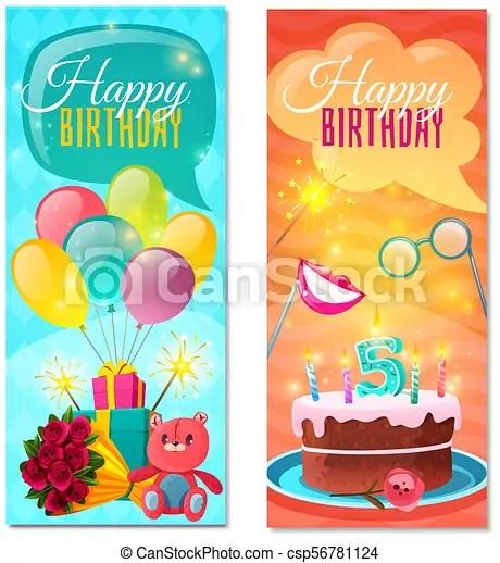 happy birthday vertical banners