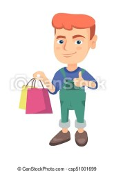 boy holding shopping caucasian happy bags cartoon vector drawing illustration smiling giving sketch clipart isolated