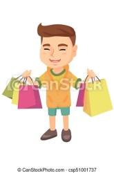 shopping boy holding caucasian bags happy cartoon standing lot sketch background vector cheerful carrying smiling young illustration isolated drawing clip