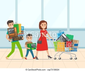 Happy family with kid shopping in supermarket Happy family shopping in supermarket with trolley full of stuff parents with CanStock