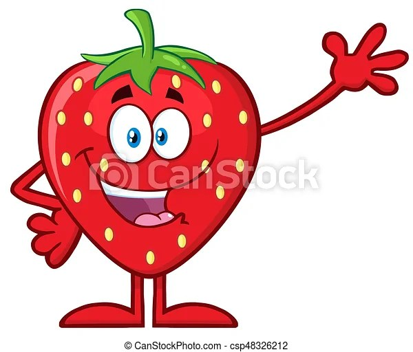 Happy Strawberry Fruit Cartoon Mascot Character Waving For Greeting Illustration Isolated On
