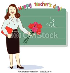 teacher happy clipart greeting template students card student flowers illustration drawing vector clipground clip drawings line illustrations graphic