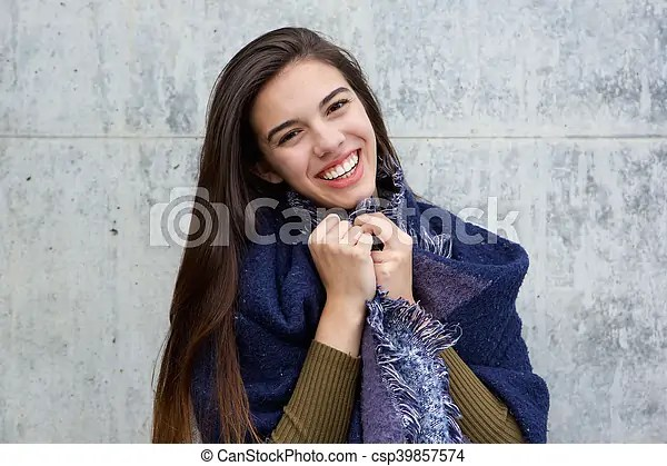happy young woman wearing