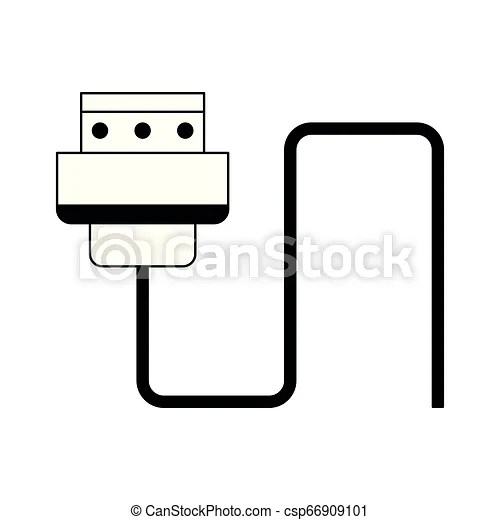 Hdmi usb cable isolated in black and white. Hdmi usb cable