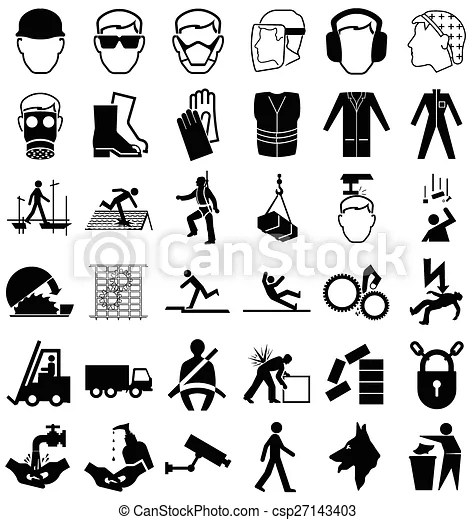 Health and safety graphics. Black and white construction