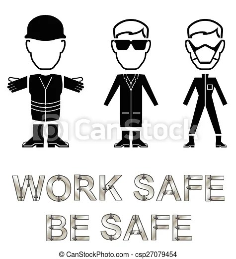 Health and safety message. Monochrome construction