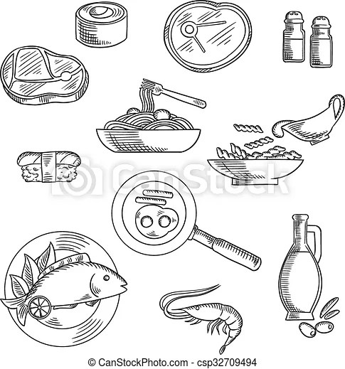 Healthy breakfast and lunch sketched icons. Healthy food