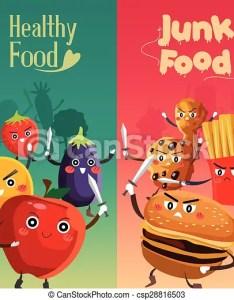 Healthy Food Versus Unhealthy Csp Also Vector Illustration Of Rh Canstockphoto