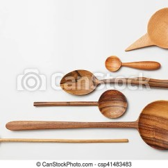 Kitchen Wooden Utensils Refacing Cabinet Doors Heap Of Different Cutlery On White Background