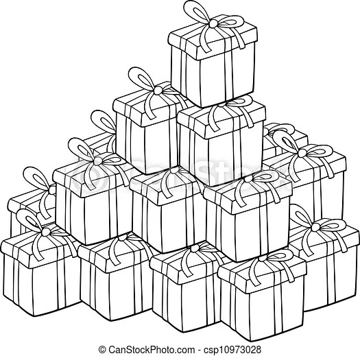 Heap of presents for coloring. Cartoon illustration of