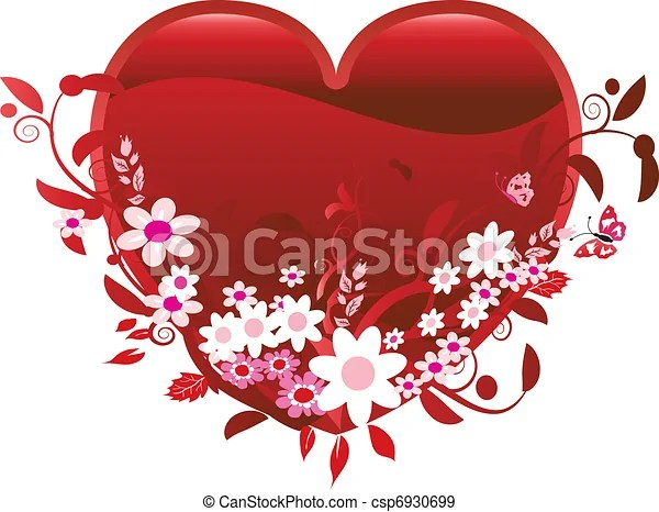 heart and flowers of