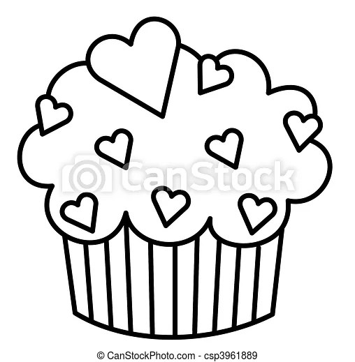 Heart cupcake. Black and white illustration of a cupcake