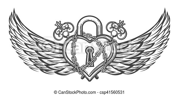 Heart shaped lock with wings. Heart shaped lock in chains