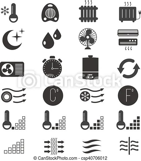 Heating and cooling, air conditioning system vector icons