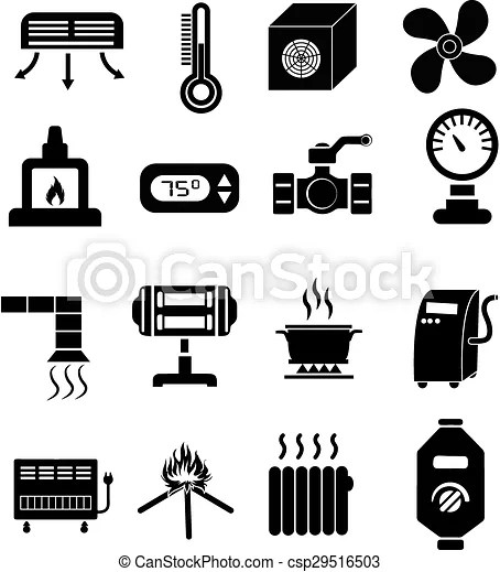 Heating icons set in black.