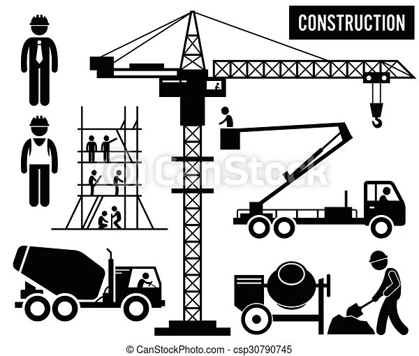 Heavy construction pictogram. Human pictogram and icons