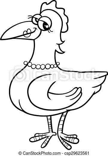Hen bird coloring book . Black and white cartoon