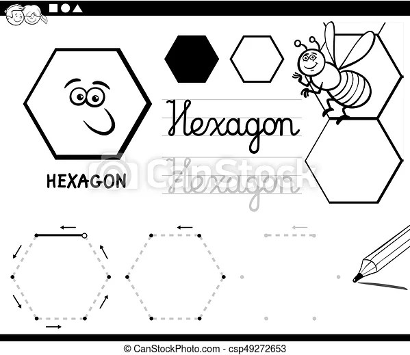 Hexagon basic geometric shapes coloring page. Black and