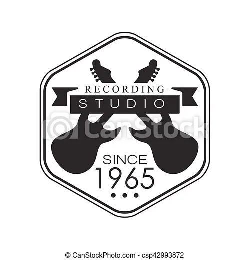 Hezagon frame music record studio black and white logo