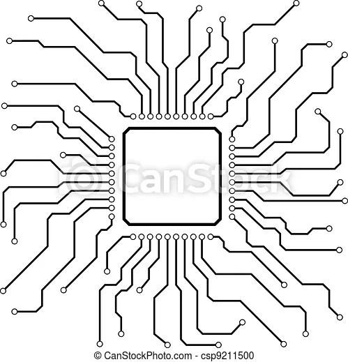 Hi-tech circuit board. Illustration of a hi-tech circuit