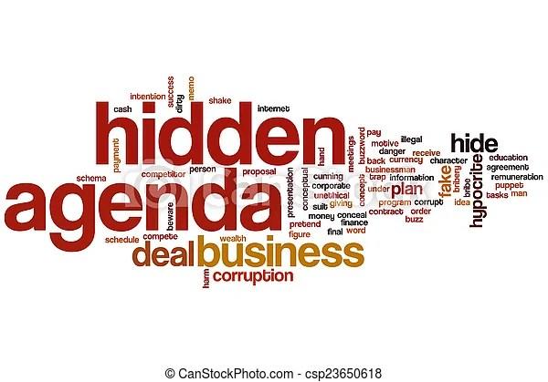 Hidden agenda word cloud concept.