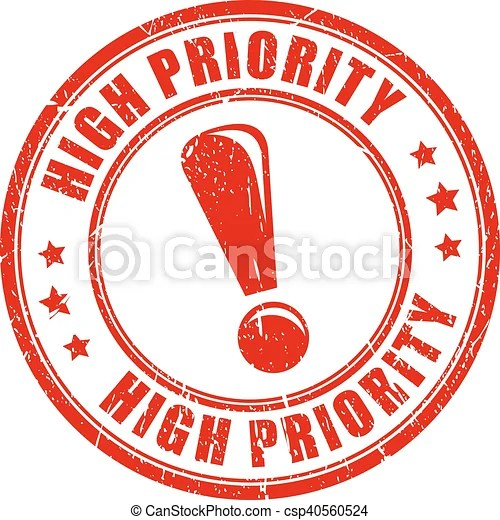 High priority stamp. High priority ink vector stamp.