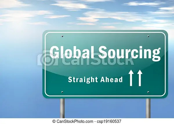 Highway signpost global sourcing. Highway signpost with global sourcing wording.