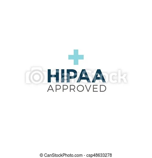 Hipaa approved approval or compliance icon graphic. Hipaa