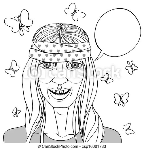 Hippie portrait drawing. Black and white illustration of a