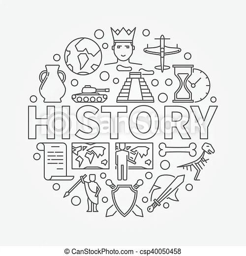 History linear illustration. vector history school subject